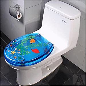 Tropical Fish Bathroom Lucite Toilet Seat