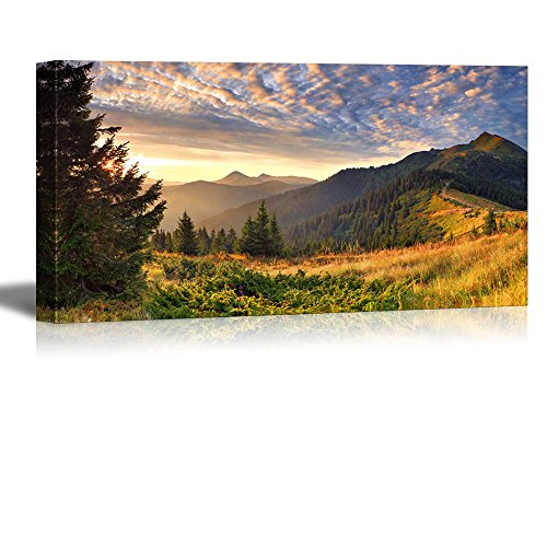 Wall26 Canvas Prints Wall Art - Colorful Autumn Landscape in the Mountains at Sunrise Nature Beauty | Modern Wall Decor/ Home Decoration Stretched Gallery Canvas Wrap Giclee Print & Ready to Hang - 24