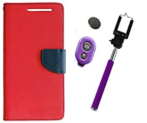 Novo Style Book Style Folio Wallet Case Micromax Canvas Xpress 2 E313 Red + Selfie Stick with Adjustable Phone Holder and Bluetooth Wireless Remote Shutter