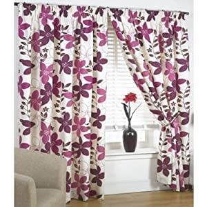 "Bruges Purple Plum Cream Floral Lined Pencil Pleat Curtains Drapes 90"" X 72"" from PCJ SUPPLIES"