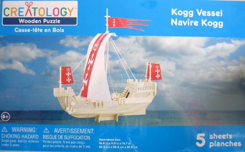 Creatology Wooden Puzzle: Kogg Vessel 3-D Wood Sail Boat Puzzle