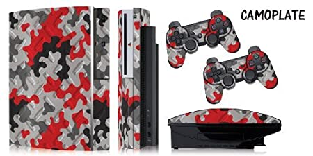 Protective skins for Playstation FAT 3 System Console, PS3 Controller skin included - CAMOPLATE RED