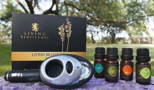 Essential Oils Aromatherapy Gift Set with Aroma Car Diffuser by Living Beatitudes ? 100% Pure Therapeutic Grade 4x10ml (Eucalyptus, Lemongrass, Orange, Pine)