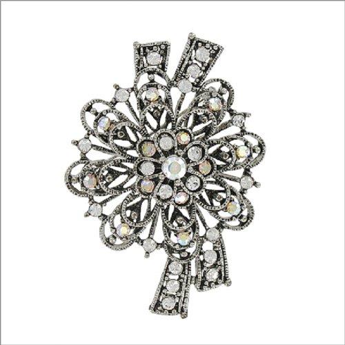 Designer Texture Flower W Stone Design Pin #041907