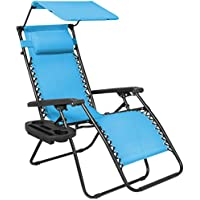 Best Choice Products Folding Zero Gravity Lounge Chair with Canopy & Magazine Cup Holder (Light Blue)