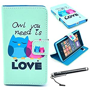 Lumia 520 Case, Nokia Lumia 520 Case, Speedtek OWL Pattern Premium PU Leather Wallet Flip Protective Skin Case with Magnetic Closure for Nokia Lumia 520 (2013) (Built-in Credit Card/ID Card Slot)