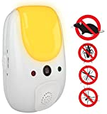SaniaPest Repeller - Effective Sonic Defense Repellant Keeps Roaches, Spiders, Mosquitos, Mice, Bugs Away - Electronic Ultrasonic Deterrent for Inside Your Home Features Relaxing Amber Night Light