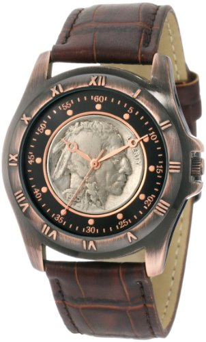 August Steiner Men's CN002C-AS Round Buffalo Nickel Collectors Gold Coin Watch