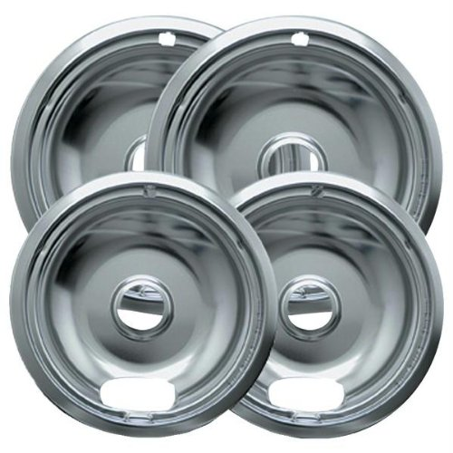 "Range Kleen Drip Bowl Chrome 2 Small / 6"" And 2 Large / 8"", 4 Pk - 10124Xn"