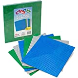 """Brick Building Base Plates By SCS - Large 10""""x10"""" Baseplates (6 Pack Variety Pack) - Tight Fit with Lego"""