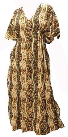 La Leela Brown Animal Skin Print Likre Long Tube Kaftan Caftan