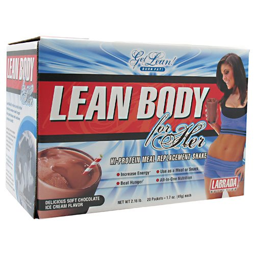 Lean Body For Her, High Protein Meal Replacement, Soft Chocolate Ice Cream, 20 Packets, From Labrada