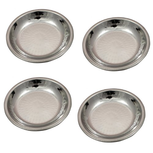 Indian Dinnerware Accessories Copper Stainless Steel Sweet Dish Bowl, Set Of 4, Diameter 12 Cm