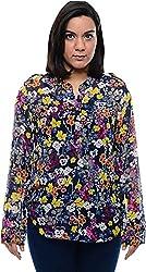 CHLOE Women's Regular Fit Shirt (CH-AM-11356P22-M, Blue, M)