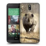 Head Case Designs Running Black Rhino Wildlife Protective Snap-on Hard Back Case Cover for HTC Desire 610