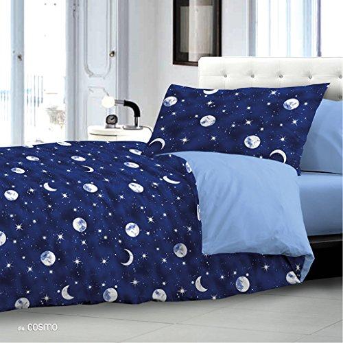Promozione : Copripiumino SINGOLO Con federa - Luna & Stelle Cosmo pianeti e satelliti - sacco copripiumini (una piazza) idea Regalo Stella stelline