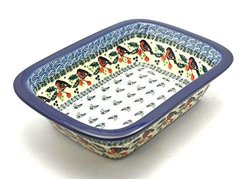 """Polish Pottery Baker - 9 3/4"""" Rectangular - Red Robin Pattern"""