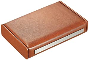 """Visol Products VHUD81 """"Russell"""" Brown Leather Travel Cigar Humidor with Humidifier"""