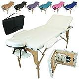 Linxor France ® Table de massage pliante 3 zones en bois avec panneau Reiki + accesso