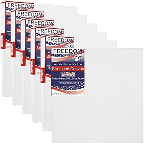 US Art Supply® 10 X 10 inch Professional Quality Acid Free Stretched Canvas 6-Pack – 3/4 Profile 12 Ounce Primed Gesso – Great for Students and Professional Artists (1 Full Case of 6 Single Canvases)