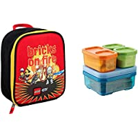 LEGO City Fire Bricks On Fire Vertical Insulated Lunch Kit & Rubbermaid Lunch Blox Sandwich Kit
