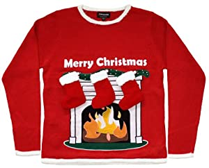Ugly Christmas Sweater - Lighted Fireplace Sweater with 3-D Stockings By Skedouche