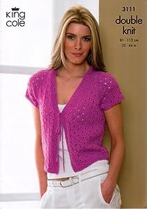 Free Knitting Pattern Ladies Cardigan Dk : King Cole Ladies Cardigan & Bolero Smooth DK Knitting Pattern 3111: Amazo...