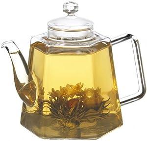 GROSCHE VIENNA Glass Infuser Teapot 1250 ml 42 fl. oz - Includes 3 free jasmine blooming green teas!