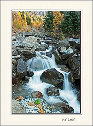 11 x 14 invh mat including photograph of mountain stream with a tranquil waterfall among the aspen trees in fall colors. (Tranquil Pictures compare prices)