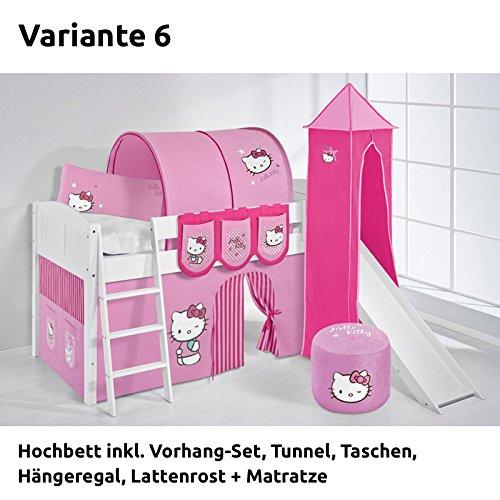 Hochbett Spielbett IDA Hello Kitty Rosa, mit Turm, Rutsche und Vorhang, weiß, Variante 6 günstig kaufen