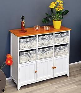 landhaus kommode badschrank flurschrank mit 90 cm breite in weiss mit zwei f chern und sechs. Black Bedroom Furniture Sets. Home Design Ideas