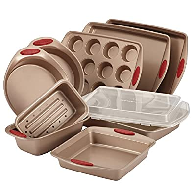 Rachael Ray 10-Piece Cucina Nonstick Bakeware Set, Latte Brown with Cranberry Red Handle