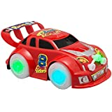 Toy Ze Bump And Go Action, Red Toy Car Vehicle With Flashing Green And Blue Lights, Sounds And Music