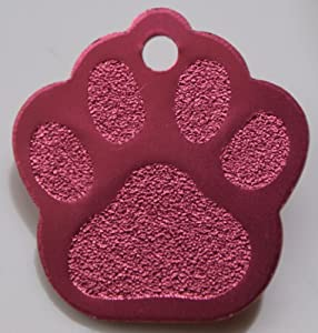 Paw Print Pet Tags - 32mm Wide - 9 Colours To Choose From, Free Engraving (Pink)