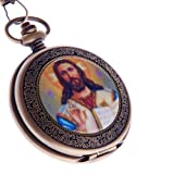 Jesus Christ Pocket Watch Quartz With Chain Full Hunter Bronze Case Arabic Numerals PW-49