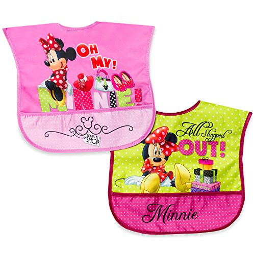 Disney Minnie 2 Pack Wipe Clean Bibs - 1