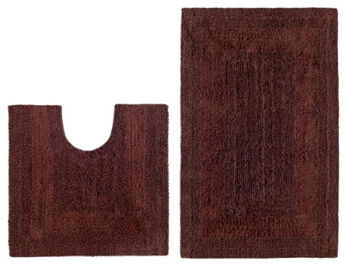 2 Piece Reversible Bath Rug Set - Race Track Chocolate by Cotton Craft - 100% Pure Cotton - High Quality and absorbent - Super Soft and Plush - Hand Tufted Heavy Weight Durable Construction - Larger Rug is 21x32 Oblong and Second rug is Contour 21x20 - Ot