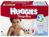 Huggies Snug and Dry Diapers Big Pack, Size 3, 86 Count
