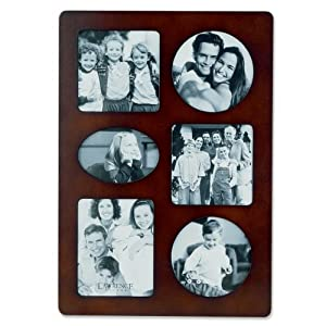 Lawrence Frames Walnut Wood Multi 6 Opening Picture Frame