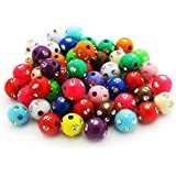 100 X MIXED COLOURS METAL ENLACED ROUND ACRYLIC BEADS 8 MM