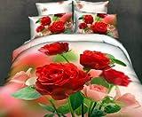 Luk Oil Home Textile,3D Effect Romantic Roses Environmental Printing Personalized Fashion Bedding Double Size 4Pcs Bedding Set 100% Cotton Queen Size