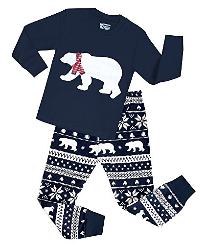 Boys Christmas Pajamas Snow Bear Girls 2 Piece Cotton Clothes Sleepwear Set (Blue,3T) (Toddler One Piece Thermal Pajamas compare prices)
