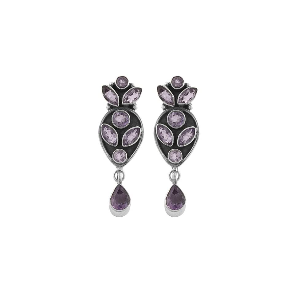 Captivating 3.8 Ct. Amethyst 925 Sterling Silver Dangle Earrings