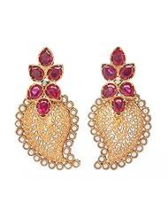 Amethyst By Rahul Popli White Gold Plated Stud Earrings - B00OYSC3OA