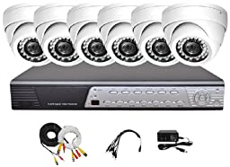 iPower Security SCCMBO0005-1T 8 Channel 1TB HDD Full D1 DVR Security Surveillance System with 6 850TVL Cameras