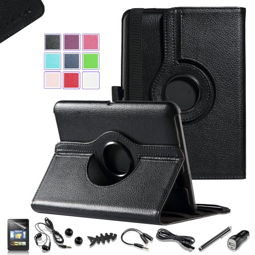 """Pandamimi Ulak(Tm) Luxury 360 Degree Rotating Stand Pu Leather Case Cover For Amazon Kindle Fire Hd 7"""" Inch Tablet With Auto Sleep/Wake Function (Will Only Fit Amazon Kindle Fire Hd 7"""", 2012 Generation) With Screen Protector And 7-In-1 Accessories Bundle"""