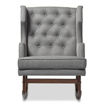 Baxton Studio Iona Mid-Century Retro Modern Fabric Upholstered Button-Tufted Wingback Rocking Chair, Grey