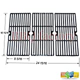bbq factory K66123 Porcelain Cast Iron Cooking Grid Grate Replacement for Select Gas Grill Models by Centro, Charbroil, Broil King and Others, Set of 3