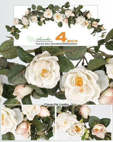 "FOUR 40"" Artificial William Rose Swags wedding arrangement."