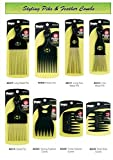 Professional Styling Combs - High Quality Detangling Brushes and Afro Piks - Smooth Finish and Heat Resistant - Magic Collection (#2407 Long Metal Pik )